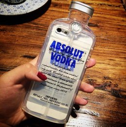 Wholesale Vodka Phone Case - New Style Luxury absolute Vodka alcohol Wine Bottle Transparent Clear TPU Phone Case For Iphone 4S 5 5S 6S 6+ Plus with OPP bags