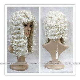 Wholesale Large Size Fancy Dress Costumes - Free Shipping Heat Resistant >>>>Light Blonde Judge Barrister Court Wig Fancy Dress Costume Cosplay wig