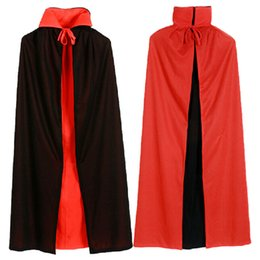 Wholesale Vampire Decorations - Halloween witches cloak vampire cape collar black and red cape worn on both sides of the double cloak 1.4m free shippinng HY1252
