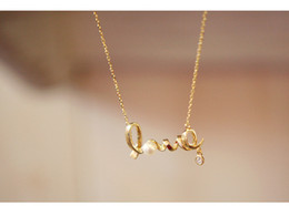 Wholesale Per Gold Necklace - 2016 Hot Style LOVE Letters Necklace Romantic Fashion For Ladies Girls Women 2 Color Option Chain Necklace 12 pcs per lot Free Shipping