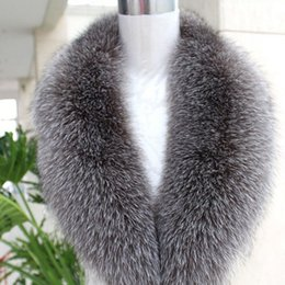Wholesale fox fur shawls - Wholesale-The real natural silver fox collars woman luxurious fur shawl collar big scarf shawl collar woman