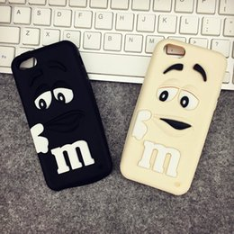 Wholesale I Phone 3d Cover - Cheap For I phone6 Case 3D Cartoon Cute Girl and Boy M&M's Chocolate Candy Color Rainbow Bean Soft Silicone Case Cover For many phones