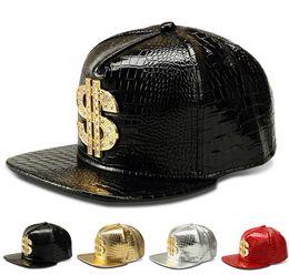 Wholesale Dollar Snapback - New Fashion PU Mens Hip Hop Baseball Caps Casual Unisex Outdoor Hats USD Dollars Gold Silver Red Black Snapback