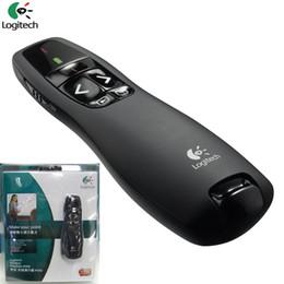Wholesale Pen Presenter - 2016 New Arrival R400 2.4GHz USB Mini wireless Laser Pointer Presenter with LED Red Laser pen PPT presenter laser with retail package