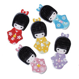 Wholesale Japanese Buttons Wholesale - Mixed Wood Sewing Buttons Japanese Doll Pattern Buttons 2 Holes Fit Clothes Accessories Sewing Embroidered 4cm X1.8cm 100PCS I269L