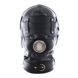 Wholesale Dildo Gear - PVC Leather Hood Mask Total Lockdown with Removable Goggles Dildo Mouth Gag Slave Head Bondage Gear Sex Product for Adult Sex Games