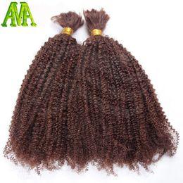 оплетка волос афро кудрявый навалом Скидка Wholesale-Afro Kinky Curly Bulk Hair Unprocessed Human Braiding Hair Bulk Kinky Curly Brazilian Human Hair For Braiding Bulk No Attachment