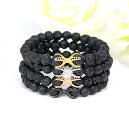 Wholesale Vintage Octopus - 8mm Fashion Friendship Strand Lava Stone Beads Bracelets High Quality Vintage Diy Cz Beads Octopus Charm Men 'S Bracelets Bangles