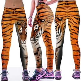 Wholesale Euro Style Women - NEW Euro Style black milk sexy women tiger stripes 3D digital printing high waist running fitness sport leggings Pants YH2033