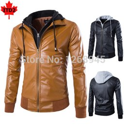 Wholesale Short Leather Jacket Hood - Fall-2015 Fall NEW Men Hooded Leather Jacket Full Zipper Man Short Coat With Hood Motorcycle Style Black Brown