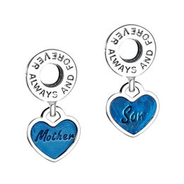 Wholesale Millefiori Jewelry - Wholesale Mother & Son Blue Enamel Pendant Charm 925 Sterling Silver European Floating Charms Beads Fit Snake Chain Bracelet DIY Jewelry