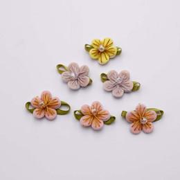 Wholesale Wholesale Fabric Flower Embellishments - 22mm Wholesale 100pcs So Cute Ribbon Leaves Flower DIY Fabric Embellishments Sew on Handmade Garment Accessory Sewing Craft