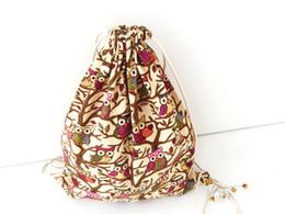Wholesale Striped Canvas Bag Drawstring - Wholesale Drawstring Bag Fashion Catoon backpacks Travel Cotton Linen bucket bag Man Women Backpack Mochila Feminina Canvas Bag