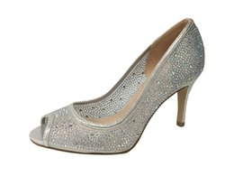 Wholesale Toes Shoes China - Rhinestones PeepToe Evening Party shoes shinny glitter material handmade women shoes made in china cheap 8.5cm middle heel women shoes