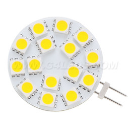 Wholesale Back Board - 15 LED G4 Light Round Board SMD 5050 Wide Volt 12VDC 12VAC 24VDC 24VAC Back Pin White Warm White