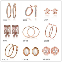 Wholesale Rose Gold Crystal Hoop Earrings - Brand new 10 pairs mixed style women's round Sculpture hollow crystal gemstone 18k rose gold earring GTG79,rose gold Circles earrings