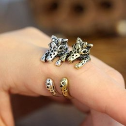 "Wholesale Bronze Giraffe - Retro Punk Antique Animal Ring for Women Men Fashion Jewelry ,Giraffe Openings Ring (Antiqued Silver And Bronze) Szie 17mm (0.66 "")   openi"