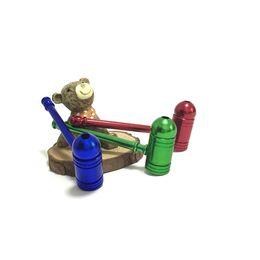 Hastes de cigarro on-line-Mini Cigarro De Metal Tubulação Keychian moda tubo de batom mágico, mini metal portátil cachimbo de alumínio tubo de tabaco hastes
