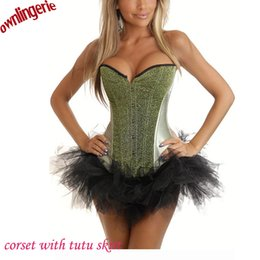 Wholesale Light Green Lingerie - Wholesale-Hot light green stain seqin bustier corsets,women's clothing intimates shapers corsets lingerie tops with black tutu skirt