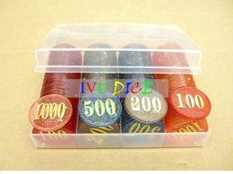 Wholesale Powder Game - Holdem Poker chips Gambling transparent Gold powder plastic Game chips Bargaining chip Bar Party Games IVU