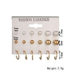 Wholesale Cheap Wholesale Stud Earrings - Mixe 9pairs lot Fashion 18K Gold 925 silver Plated pearl stud earrings Dangle & Chandelier U-shaped earrings Ear jewelry High quality cheap