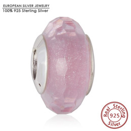 Wholesale Pink Glass Faceted Fit Bead - New sales glass bead Pink shimmer Faced Glass beads Fits Brand Bracelets 925 Sterling Silver Faceted Charm Bead Diy Necklace