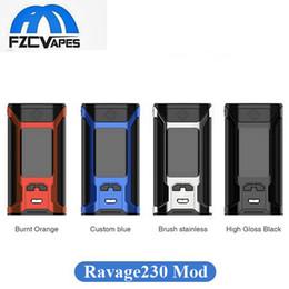 Wholesale E Cigarette Mod Batteries - Authentic Wismec Sinuous Ravage230 Box Mod 200W E Cigarette Vape Mod Dual 18650 Battery Ravage 230 Powered Mod 100% Original