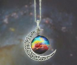 Wholesale Moon Gem - 2018 universe starry sky moon necklace Time gem glass Sweater chain Necklace men women Jewelry + Free shipping 361
