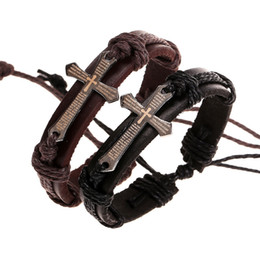 Wholesale Men Vintage Cross - Men Braided Leather Cuff Bracelets Vintage Style Bangles With Cross Charm Wholesale Business