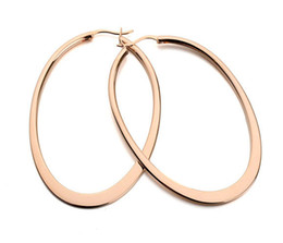 Wholesale Rose Gold Oval Hoop Earrings - NEW Fashion Classica Design 18K Rose Gold Imitation Rhodium Plated Big Oval Hoop Earrings Women Brand jewellery