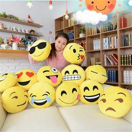 Wholesale Embroidered Sofa Fabrics - Emoji Toys for Kids Emoji Size 32*32*10 cm Sofa Pillows Children Hold Pillow Cute QQ Emoji Doll 5 Pieces Chair Cushion