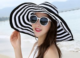Wholesale Cheapest Ties - Cheapest 2016 Fashion Women Beach Straw Hats Summer Wide Brim Stripe Sun-screen Hat Adult Female Sun Travel Cap