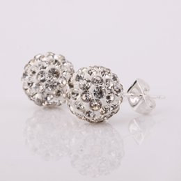 Wholesale Disco Ball Tone - Wholesale 10MM Ball Sparkling Crystal Earrings Micro Pave CZ Disco Ball Bead,Nice Silver Tone SBE025