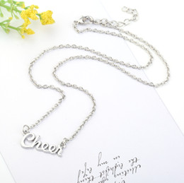 Wholesale Cheer Charm Silver - Hot Fashion Popular Style Antique Silver Plated Link Chain Message Cheer Pendant Necklace for Woman Gift Jewelry