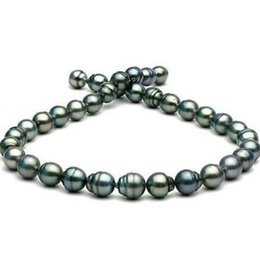 Wholesale Peacock Plates - 11-12mm tahitian peacock green baroque pearl necklace 18 inch 14k gold clasp