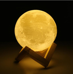Wholesale Color Changing Christmas Lights - Rechargeable 3D Print Moon Lamp 2 Color Change Touch Switch Bedroom Bookcase Night Light Home Decor Creative Gift