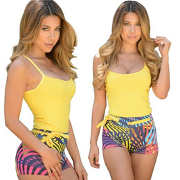 disegni della tuta di modo Sconti PrettyBaby New fashion design 2016 tuta stampa senza maniche tuta elegante tuta sexy per le donne vestito di svago spiaggia