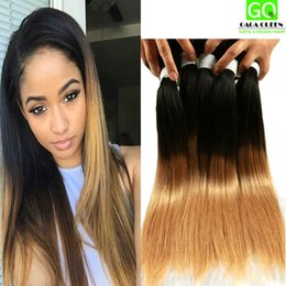 Wholesale Dip Dyed Hair - Ombre Hair Brazilian Human Hair Extension Ombre Dip Dye 1b #27 Color Hair Weave Brazilian Straight Ombre Hair Weft 3Bundles Deal