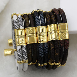 Wholesale Leather Slide Charm Accessories - New fashion double small accessories small lock leather bracelet titanium steel buckle leather rope bracelet
