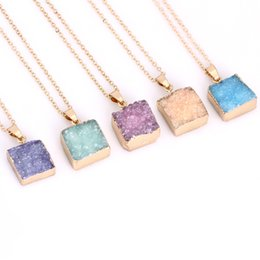 Wholesale Crystal Geode Pendant - statement necklaces for women Square natural stone necklaces Druse geode crystal pendant necklaces