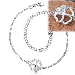 Wholesale Copper Legs - Flower Bow-knot Pattern Anklets Leg Bracelets Foot Chains Feet Jewelry 925 Silver Female Gem Crystal Zircon Fashion for Girl Accessories