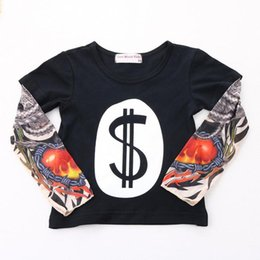 Wholesale Baby Girl Tattoos - INS Fashion New Kids Clothes Baby Boy Girl Patchwork Batman Tattoo Long Sleeve T-shirt Mosaic hip-hop sashimi Tops Tees Children Clothing