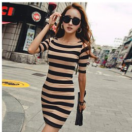 Wholesale Girls Korean Striped Dress - Korean striped summer dress thin Slim Sleeve women 2016 Top Girl Dresses Femal Cheap Dressleisure Round collar short sleeves Package buttock