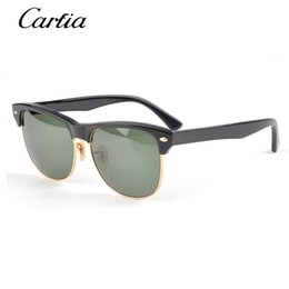 Wholesale Mirror Packaging - Carfia 4175 sunglasses half frame men women brand designer sun glasses gafas de sol oculos plank sunglasses with original package
