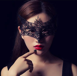 Wholesale Halloween Costumes For Sale - Hot Sales Black Lace Animal For Sexy Lady Cutout Mask Masquerade Masks for Masquerade Party Fancy Dress Costume