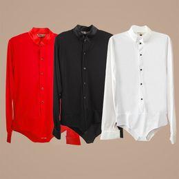 Wholesale Black Lace Men Dress Shirts - Men Boy Performance Latin Dress Tops Diamond Lace Long Sleeve Dance Dress Ballroom Dance Competition Dresses Latin Tops Shirts