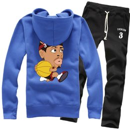 Wholesale Cartoon Images Pants - New Wholesale Basketball Allen Iverson Cartoon Image Spring Winter Pure Cotton Fleece Hoodies Sweater Coat Jackets Sports Pants Tracksuit