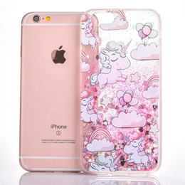 Wholesale Hard Plastic Horse - For Iphone 6 6S Plus I6S Quicksand Liquid Unicorn Hard PC TPU Case Horse Star Flow Bling Glitter Magical Dynamic Cell Phone Skin Cover 10pcs