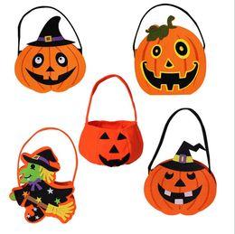 Wholesale Decoration Pails - Halloween Pumpkin Candy Bag Trick Treat Cute Smile Basket Face Children Gift Handhold Pouch Tote Bag Non-woven Pail Props Decoration Toy