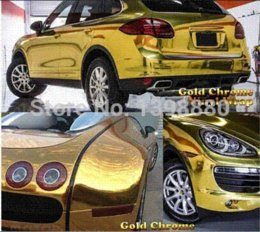 Wholesale Gold Chrome Sticker - 200mmX1520mm Chrome Golden Gold Mirror Vinyl with Bubble Free Air Release DIY Wrap Sheet Film Car Sticker Decal Car Styling